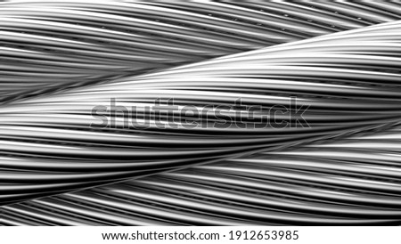 Metallic silver wire rope. 3D illustration. 3D high quality rendering. 3D CG. Foto d'archivio ©