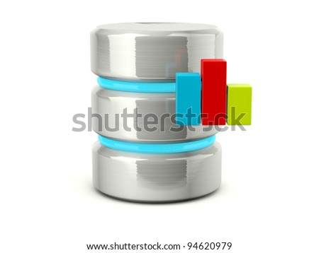 Metallic statistic data base icon isolated on white