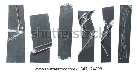 Metallic sticky teared tape shapes cuts isolated on white background. Shiny flexible crumpled glitter holo stickers. Silver shiny metallic stripes, adhesive pieces. Design elements for a poster idea.