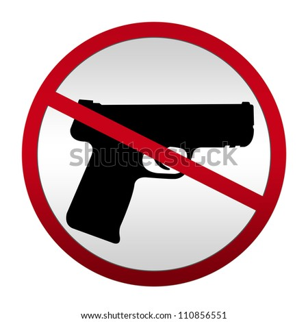 Metallic Style No Weapon Allowed Sign For Stop Violence Campaign Isolated On White Background