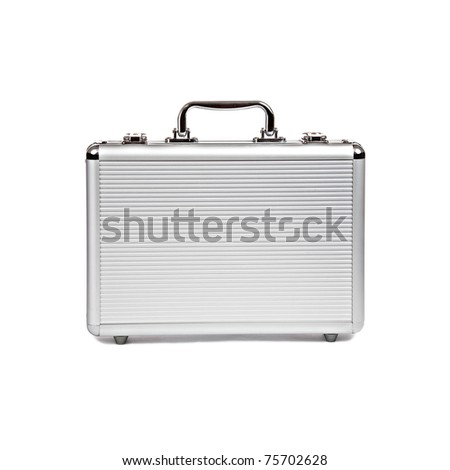 metallic suitcase on white background
