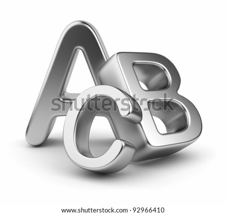 Metallic symbols heap  of alphabet. Icon  3D.  Education concept. Isolated on white