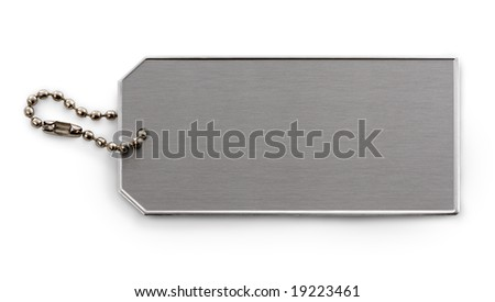 Metallic tag and chain, isolated on white background, tag showing brushed metal texture.