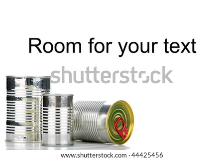 metallic tins of canned food isolated