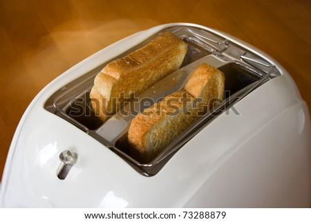 Metallic toaster and two hot toasts ready to serve for the breakfast.