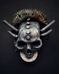 Metallic totem skull, close up