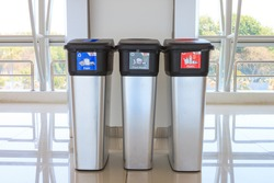 Metallic Trash Bin at terminal airport