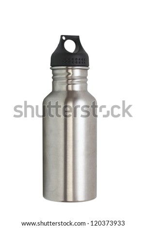 metallic water bottle for hiking isolated over white background