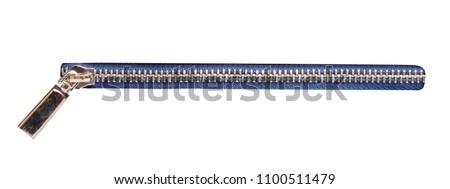 Photo of  metallic zipper isolated on white background