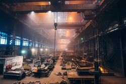 Metallurgical plant or Steel Foundry Factory, Large Workshop Interior, Blast Furnace, Heavy Industry, Iron and Steelmaking