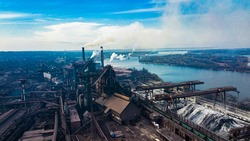 metallurgical production plant full cycle smoke from pipes bad ecology aerial photography