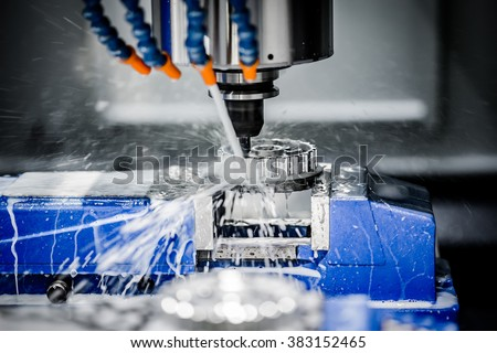 Metalworking CNC milling machine. Cutting metal modern processing technology. #383152465
