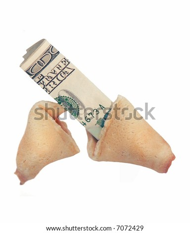 Metaphor for good fortune with USD 100 dollar bill inside broken fortune cookie isolated on white