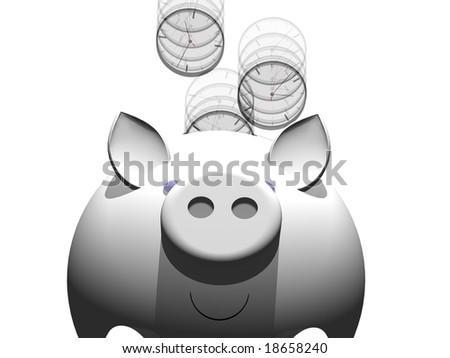 metaphor image of a piggy bank with clock coin