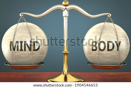 Metaphor of mind and body staying in balance - showed as a metal scale with weights and labels mind and body to symbolize balance and symmetry of mind and body in life or business, 3d illustration