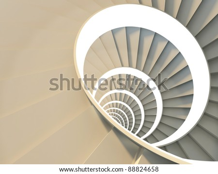 Metaphor of success. Abstract spiral staircase. High viewpoint. 3d-illustration
