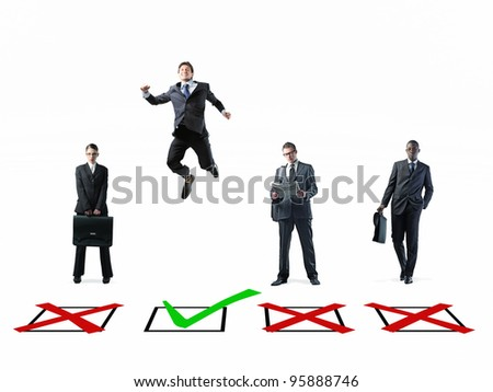 metaphoric image of business people and check box