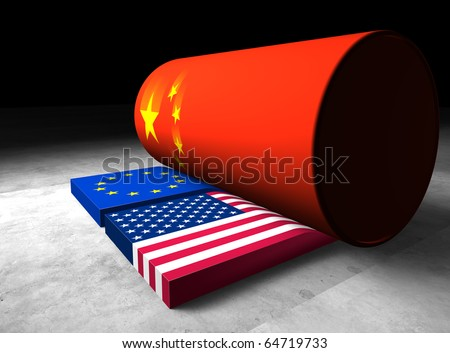 Metaphorical illustration that shows strong and powerful china rolling over the United States and Europe