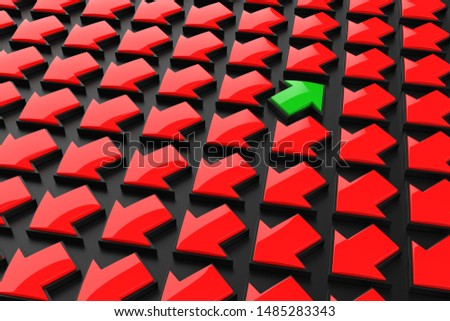 Metaphorical solution for business concept. Group of red arrows in one direction and with one green individual is different.