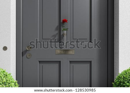 metaphorical welcome image showing a classical door with welcome sign and a red rose
