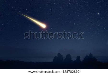 Meteor Comet over the nigt sky city landscape
