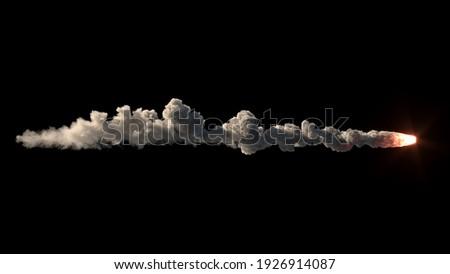 Meteor flies on the black background 3d illustration Stockfoto ©