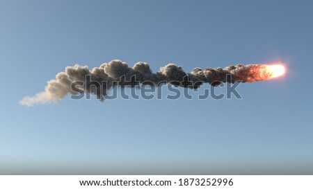 Meteor flies on the blue sky 3d illustration Stock photo ©