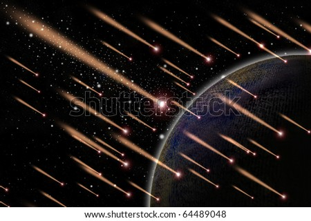 Meteor shower in the space, Astronomy concept - stock photo