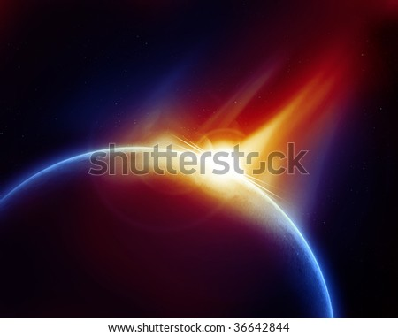 meteor strike on a solid black background - stock photo