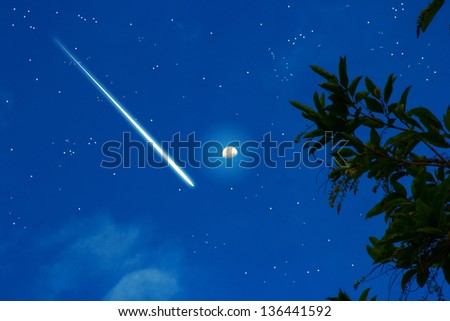 meteoric  on the night sky with star and moon