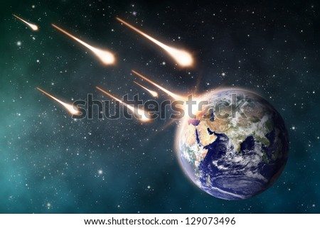 "meteorite impacts the Earth space scene  ""Elements of this image furnished by NASA"""