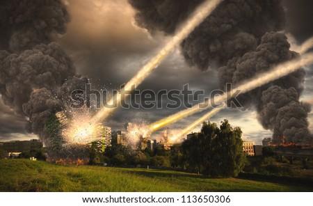 Meteorite shower over buildings