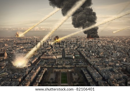 Stock Photo Meteorite shower over Paris, destroying the city
