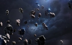 Meteorites. Deep space image, science fiction fantasy in high resolution ideal for wallpaper and print. Elements of this image furnished by NASA