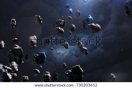 Meteorites. Deep space image, science fiction fantasy in high resolution ideal for wallpaper and print. Elements of this image furnished by NASA #730203652