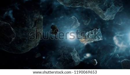 Photo of  Meteorites in deep space planets. Asteroids in distant solar system. Science fiction concept.