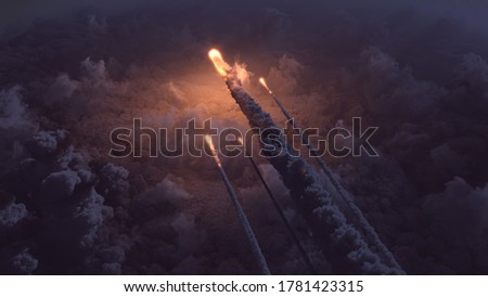 Meteors flying over the clouds 3d illustration Stock photo ©
