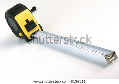 meter in cm black and yellow rubber wrapped perspective isolated on white background