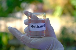 Methanol or methyl alcohol in clear glass