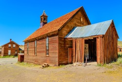 Methodist Church of 1882 with bell tower of the antique Fuller street, Californian Ghost Town, close to Yosemite national park. Bodie state historic park, California, United States of America