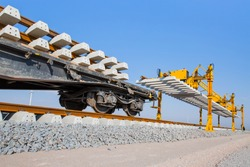 Metro (High speed Train) construction site, railroad track installation machine is in use