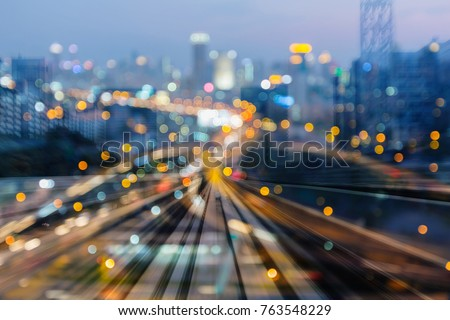 Metro motion blurred city bokeh light, abstract background #763548229