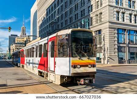 Metro Rail on Main Street in Buffalo - New York, United States