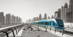 Metro railway and fully automated train in modern and luxury Dubai city, United Arab Emirates