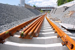 Metro railway construction site in Vuosaari, Finland