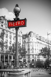 Metro sign for subway transportation in paris, france