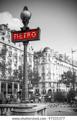 Metro sign for subway transportation in paris, france