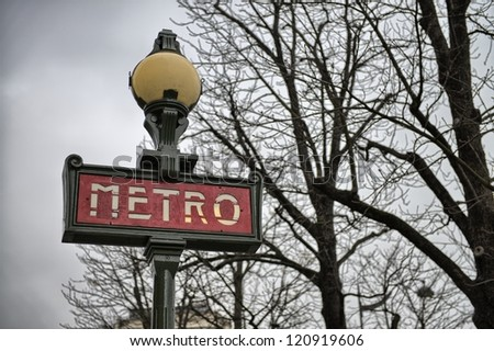 Metro Sign in Paris on a cold December morning.