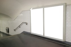 metro staircase with billboard for your copy space