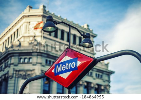 Metro Station Sign in Madrid Spain